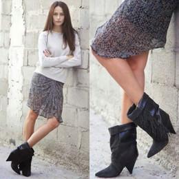 Kurze graue wildlederstiefel online-2016 nachtclub Sexy schwarz grau wildleder spitz spike ferse damen kurze stiefel Quaste damen winter