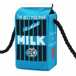 Wholesale Hot Women Milk - Wholesale- Hot Fashion Cute Stereo Mini Messenger Bags Milk Bag Makeup Cartoon Cartons Bag Women Fashion Letter Canvas Shoulders Bag