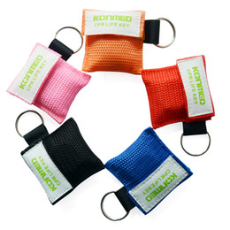 Wholesale mask face shield - CPR Mask Key Chain Kit - One-way Valve and Face Mask CPR Face Shield with Keying Chain For First Aid CPR Training