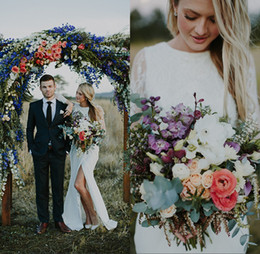 Wholesale Wedding Dresses Open Front White - 2018 Boho Wedding Dresses Designer Vintage Scoop Open Back Long Sleeves Side Slit Rustic Bridal Gowns