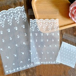 Wholesale Self Adhesive Bread Bags - Wholesale- 50pcs White lace Self Adhesive Party Bakery Bread Plastic Cookies Bags Gift Cellophane Bags Candy Bags Wholesale