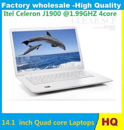 Wholesale Netbook Inch Windows - 14.1 inch Quad core Laptops NOTEBOOK 4gb 750GB  4gb 320gb 8gb 500gb Laptop Itel Celeron 1.99GHZ Netbook Laptops