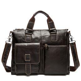 Wholesale Man Briefs Case - Wholesale- Genuine Leather Men Bags Business Brief Case Leather Laptop Briefcase Men Travel Bag Crossbody Shoulder Bag Handbag cartable