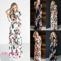 Wholesale Lady S Long Floral Dress - Summer Women Floral Print Wrist Sleeve Empire Waist Boho Dresses Femme Vestidos Ladies Evening Party Long Beach Maxi Dress