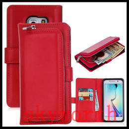 Wholesale Best Plastic Cards - Best Quality 3in1 Removable Zip Leather Wallet Case For Iphone 7 Plus 6s Samsung Galaxy S6 S7 edge cover Pouch+Card Slot Photo