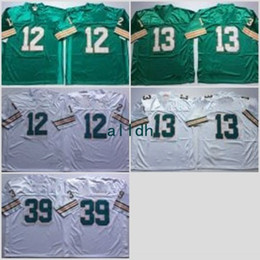 Wholesale Shirts Mens Stitching - Throwback Jersey Teal Green 12 Bob Griese 13 Dan Marino 39 Larry Csonka Retro Stitched Jersey Mens Vintage Shirts S-XXXL