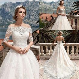 Wholesale Lace Wedding Gown Boleros - 2018 New Vestidos De Noiva A Line Wedding Dress Detachable Bolero Jacket Appliqued Lace Wedding Gown Custom Plus Size Formal Bridal Gowns