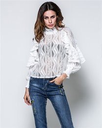 Wholesale Spring Fashion Womens Clothing - Elegant Womens Clothing Lotus Leaf Sleeve Sexy Lace Blouse Shirt Casual Women Spring Summer Tops 2017 Fashion Femme Blusas