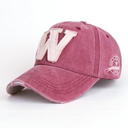 Wholesale Custom Embroidery Snapback Hats - Wholesale- Cotton Embroidery Letter W Baseball Cap For Men Women Snapback Cap Hat Sports Caps Bone Outdoor Hat Style For Custom Hats