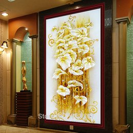 Wholesale Cm Pictures - New Lily Flowers Diamond embroidery Crystal Diamond Painting Cross Stitch Bright Round Vertical Print Picture Canvas 130X70 cm