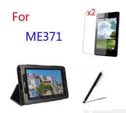 """Wholesale Tablet Screen Magnetic Covers - Wholesale- 4in1 Luxury Magnetic Folio Stand Leather Case Cover +2x Screen Protector +Stylus For ASUS Fonepad 7 ME371 ME371MG K004 7"""" Tablet"""