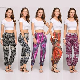 Wholesale Festival Clothes - 2017 New Thai Boho Style trousers pants women clothing Festival Happy Elastic Waist Elephant Yoga Clothes Cotton Polyester