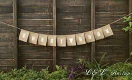 Wholesale Wholesale Guest Books - Wholesale- Guest book burlap banner in white lettering, bunting, sign,
