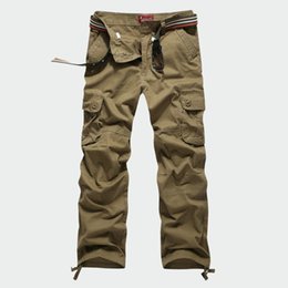 Wholesale Xs Overalls - 30-44 Plus size Tactical Men's Cargo Pants Casual Men Loose Pants Multi Pocket Army Overall for Men Long Trousers Militarys Clothing