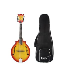Wholesale solid spruce rosewood - Wholesale- IRIN 8-String W-Style Cutaway Mandolin Spruce & Basswood Sunburst Red Solid 23 Fret Rosewood Fretboard Musical Instrument