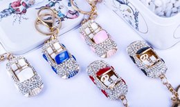 Wholesale Small Diamond Key - Set drill convertible car key chain Diamond oil drip bag metal key ring Multicolor creative small gift