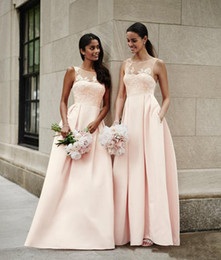 Wholesale Wedding Dresses Convertible Skirt - pink satin lace bridesmaid dresses 2018 A line skirt v neck formal party dresses for wedding guest