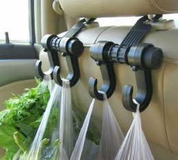 Wholesale Car Rear - Universal car hooks double for clothes Handbags Grocery Bags Convenient headrest chair Seat back rear storage holder rack hangers