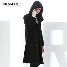 Wholesale Trench Coat Men Waist - Wholesale- URSMART windbreaker male long hooded men black cotton dust coat autumn new authentic trench coat