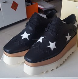 Wholesale Plastic Felling Wedge - actual shoes! big size 40 41 42 Luxury Brand Shoes Star Stella Britt Shoes Elyse Brushed Casual Platform Derbys Wedge Lace-up Flat Shoes