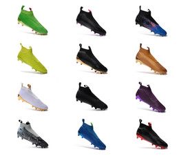 Wholesale Green Messi Soccer Shoes - 2017 Soccer shoe ace MESSI Ace16+ Purecontrol FG Outdoor Football Boots,Mens ACE 16-1Primeknit Football shoes 13 color