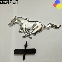 Wholesale Alloy Metal Car Stickers - Ford 3D Silver Black Horse Logo Metal Alloy Car Auto Front Hood Grille Emblem Sticker for Ford Mustang Universal