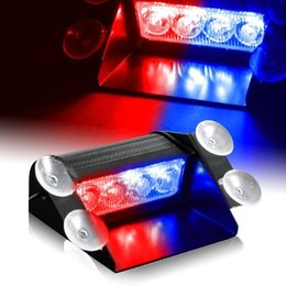 Wholesale Blue Dashboard Lights - 4 LED Visor Dashboard Emergency Strobe flashing warning work Ceiling Lights for Interior Roof   Dash   Windshield