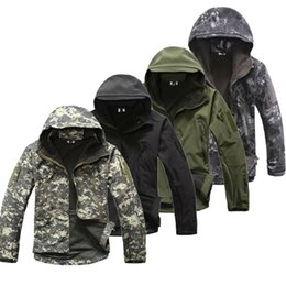 Wholesale Clothing Dropshipping - Dropshipping Lurker Shark Skin Softshell V5 Military Tactical Jacket Men Waterproof Coat Camouflage Hooded Army Camo Clothing
