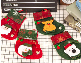 Wholesale Hand Crafted Bags - Christmas Stockings Hand Made Crafts Children Candy Gift Santa Bag Claus Snowman Deer Stocking Socks Xmas Tree Decoration 2017