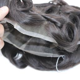 pelucas de cabello barato hombres Rebajas Venta al por mayor precio barato hombres peluca Toupee Swiss / French Lace Natural Remy indio del cabello humano sistemas de reemplazo 8