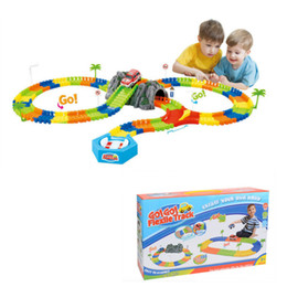 Wholesale race car track - 144pcs Miraculous Electronic Racing Car Track Kids Toy Childrens Game Boys Xmas Gift Rail Building Block Toy