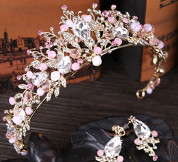Wholesale Vintage Headdresses - 2017 New Pink Crystal Crown Vintage Jewelry Headdress Hair Accessories Pieces Tiara Bridesmaid Headband Princess Tiara Headpieces Jewelry