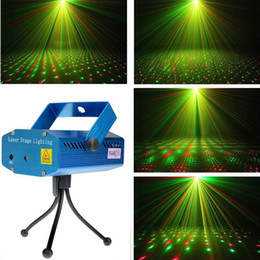 Wholesale Christmas Mini Laser Projector - 1PC Portable Laser Stage Lights (Red + Green Color) All Sky Star Lighting Mini DJ Laser For Christmas Party Home Wedding Club Projector