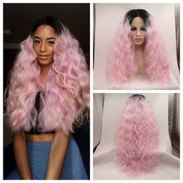 Wholesale Sexy Pink Wigs - Sexy High Heat Resistant Body wave Lace Front Wig Synthetic Ombre Pink Dark Root Tone Rock Pink Hair Lace Front Wig Cosplay Wig