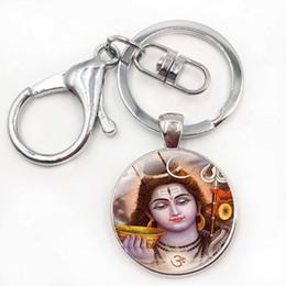 Argentina Señor Shiva llavero indio señor Shiva arte llaveros de cristal Cabochon Buda de plata plateado colgante titular de la clave budismo joyería cheap buddha keychain Suministro