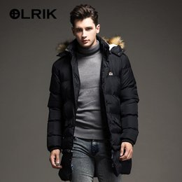 Wholesale Western Coats Jackets - Wholesale- OLRIK Winter Brand New Men Down Jacket Coats Long Coats Dress Jackets Western Style Overcoats Thick Warm Duck Down Parkas Hooded