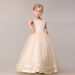 Wholesale Tulle Ball Gown Bridesmaid - children summer flower dress big girl dancing party long evening dress kids pageant gorgeous gowns wedding events bridesmaid clothes