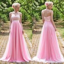 Wholesale Beach Wedding Junior Bridesmaid Dresses - 2017 Pink Blush Cheap Beach Bridesmaid Dresses Junior New Country Sweep Train Sweetheat Lace Ribbon Party Long Wedding Gown Vestido De Festa