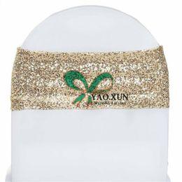 Argentina Silla de lentejuelas de oro ligero Band \ Chair Sash Fit para Wedding Spandex Chair Cover Suministro