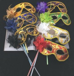 Wholesale carnival costumes for women - New Venetian masquerade feather flower mask on stick Mardi Gras Costume printing Halloween Carnival Hand Held Stick party mask