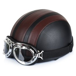 Wholesale Visor Motorcycle - Wholesale- Hot Sell New Brown Synthetic Leather Vintage Motorcycle Cruiser Touring Open Face Half Motor Scooter Helmets & Visor & Goggles