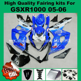 Wholesale Suzuki Gsxr Windscreen - Injection fairing kit for SUZUKI GSXR1000 2005 2006 GSX-R1000 05 06 Fairings kit GSXR 1000 2005 2006 K5 K6 blue bodywork windscreen