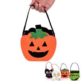 Wholesale Decoration For Candy Baskets - Halloween Pumpkin Owl Skull Zombie Bag Non Woven Handbag Treat or Trick Candy Basket for Halloween Party Decoration OOA2388
