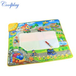 Wholesale Transport Toys For Children - Wholesale- Coolplay Car transport Play rug Water Drawing Baby Musical Mat Toy with Pen Crawling Carpet Christmas Gift for Child CP1340
