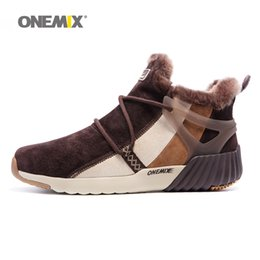 Wholesale Mens Winter Shoes Waterproof - ONEMIX Mens Winter Warm Shoes For Men High Top Wool Snow Boots Pigskin Waterproof Running Shoes 2017 Man Sports Outdoor Walking Sneakers 45