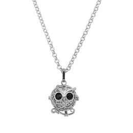 Wholesale Lockets Fragrance - New Hollow Animal Owl Locket Wish Box Necklace for Perfume Aromatherapy Essential Oil Perfume Fragrance Diffuser free shipping