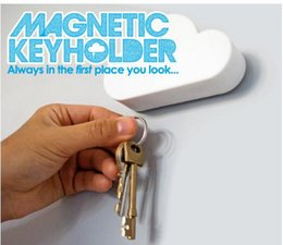 Wholesale Home Key Holder - 2016 Fashion Creative Cloud-shaped Magnetic Key Chain Novelty Home Wall Key Holder Hanger 2 color DHL