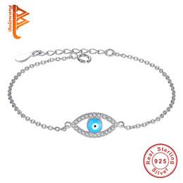 Wholesale Evil Eye Silver Charm - BELAWANG Elegant Cubic Zircon Jewelry 925 Sterling Silver Blue Evil Eye Stone Bracelet For Women's Charm Bracelets Party Anniversary Gift
