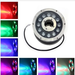 Wholesale Led Submersible Fountain Lights - 2PCS AC DC24V LED Fountain Light 12W IP68 Waterproof Underwater Light Pool Light Swimming Pool RGB LED Pond Lights Submersible Lighting