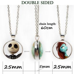 Wholesale Crystal Skull Pendant Necklace - Double side necklace Halloween Nightmare Before Christmas Necklace Glass Cabochon wholesale punk skeleton skull locket pendant jewelry